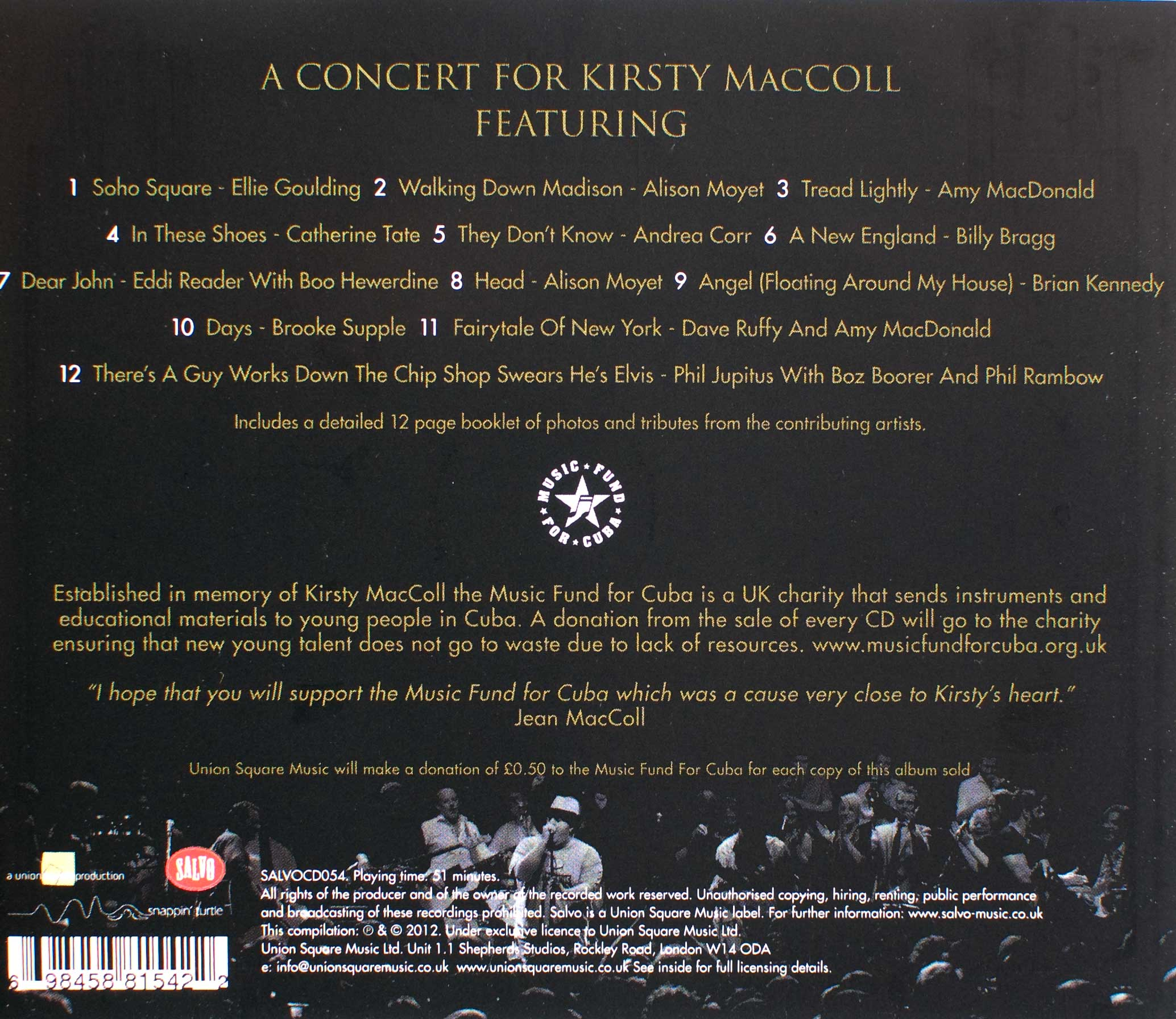 A Concert for Kirsty MacColl (2012 CD) back cover
