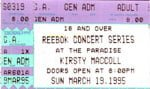 Ticket from Boston Paradise gig