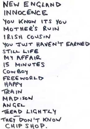 Setlist from Poole, August 1992