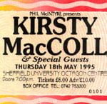 Ticket from Sheffield, 1995 tour