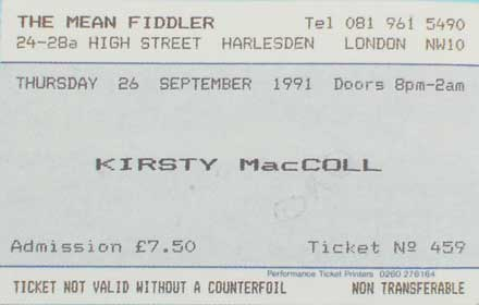 Terry's Mean Fiddler ticket, 26 September 1991