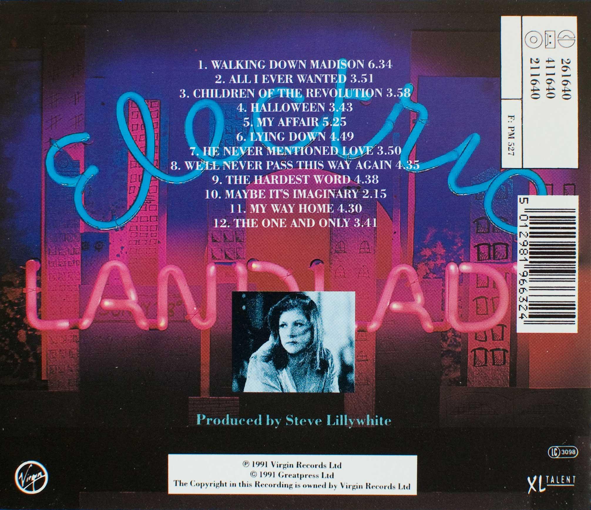 Electric Landlady (1991 CD) back cover
