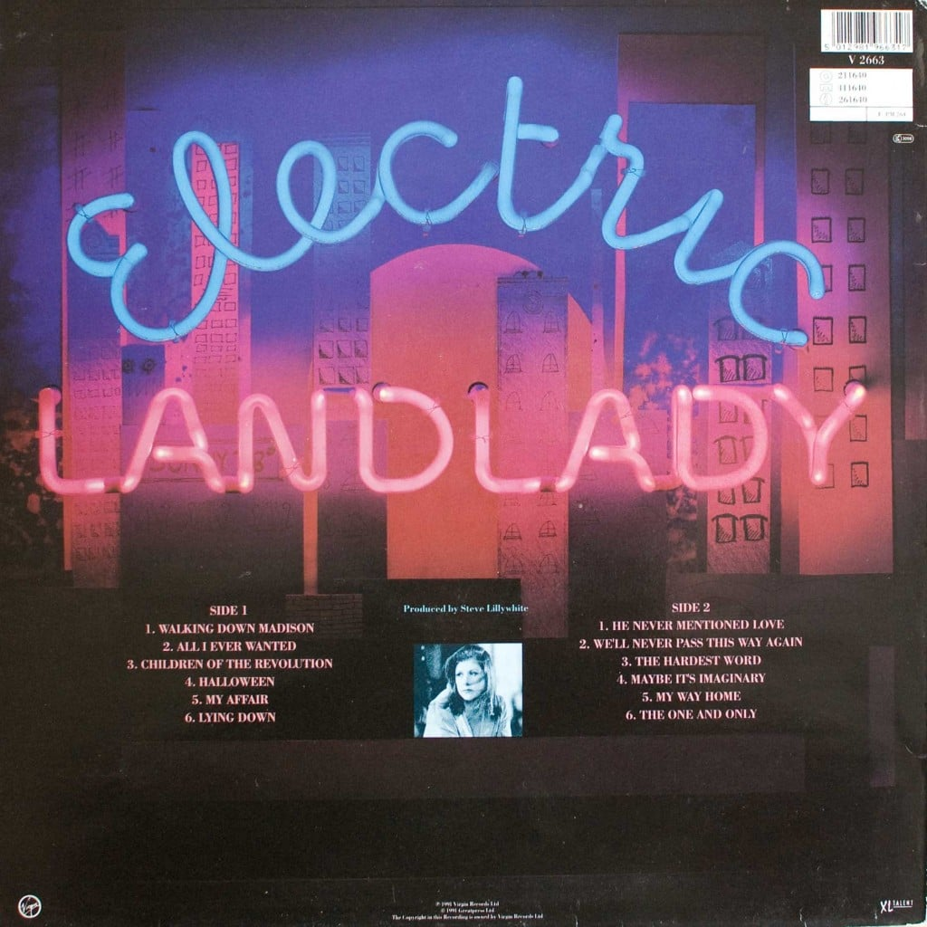 Electric Landlady (1991 LP) back cover