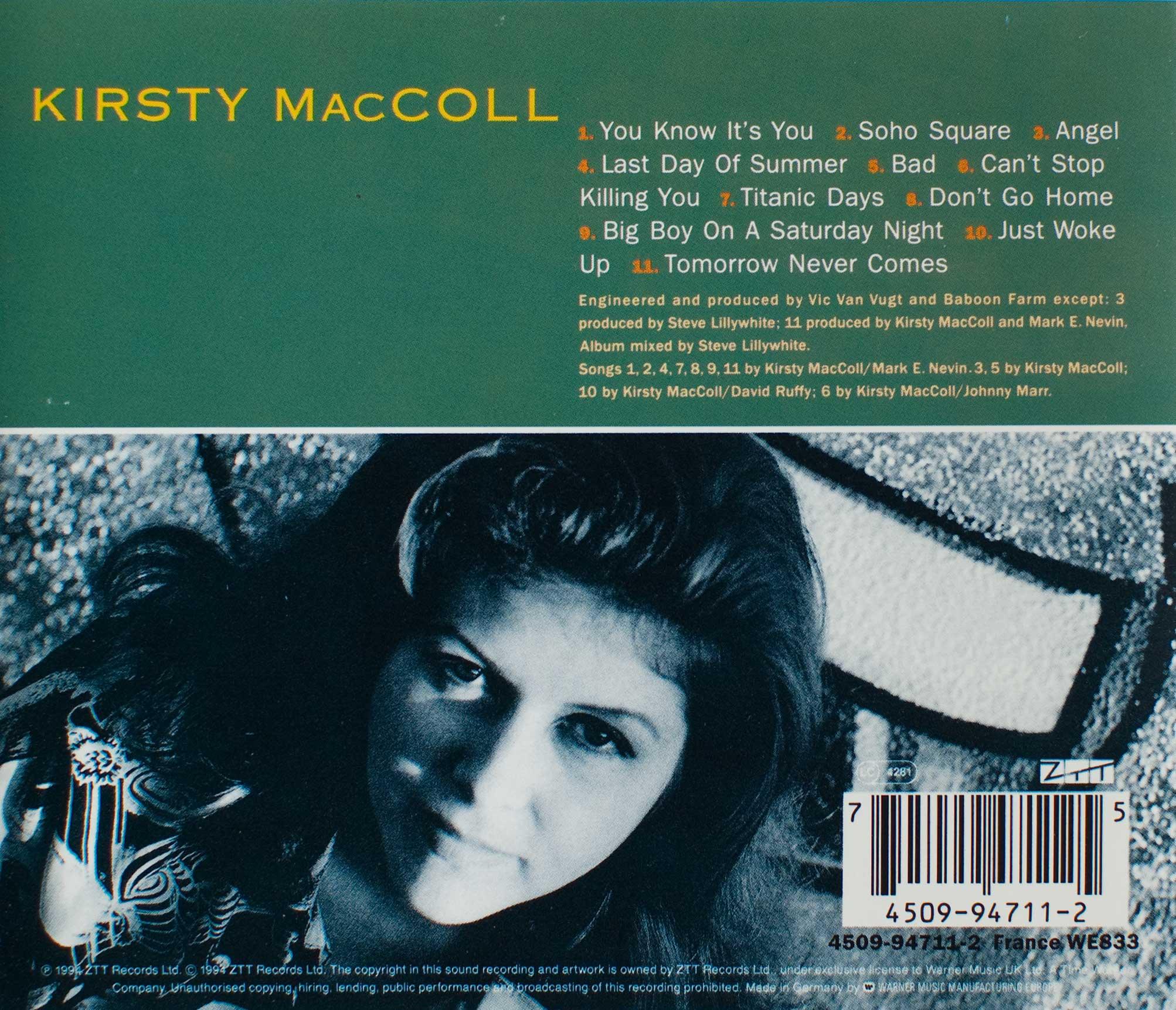 Titanic Days (1993 CD) back cover