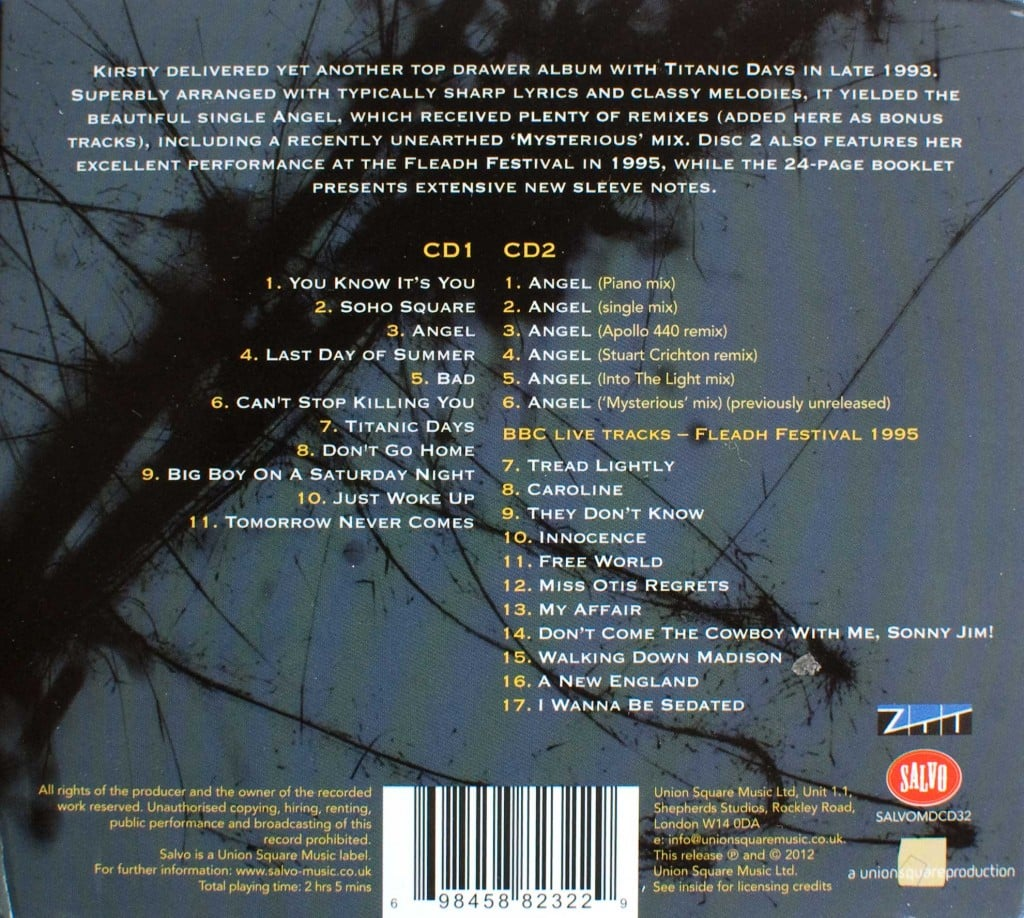 Titanic Days (2012 CD) back cover