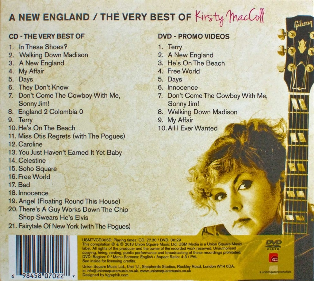 A New England: The Very Best of Kirsty MacColl (Deluxe CD 2013) back cover