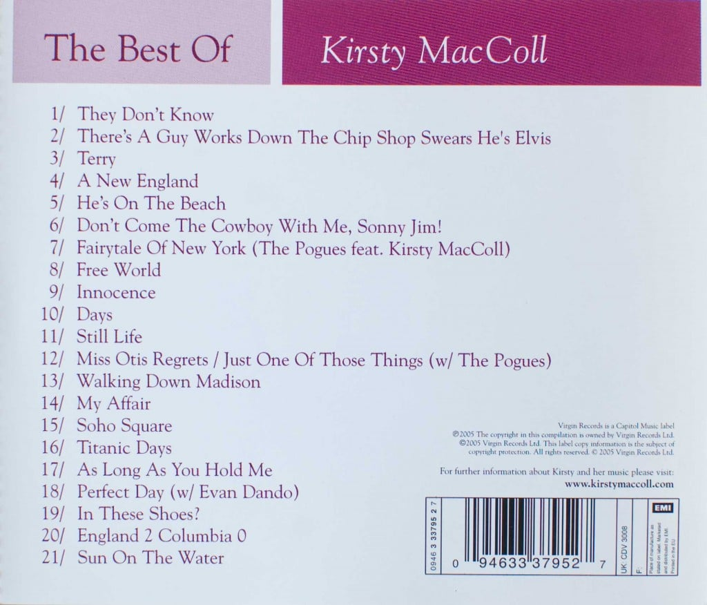 The Best of Kirsty MacColl (2005 CD) back cover