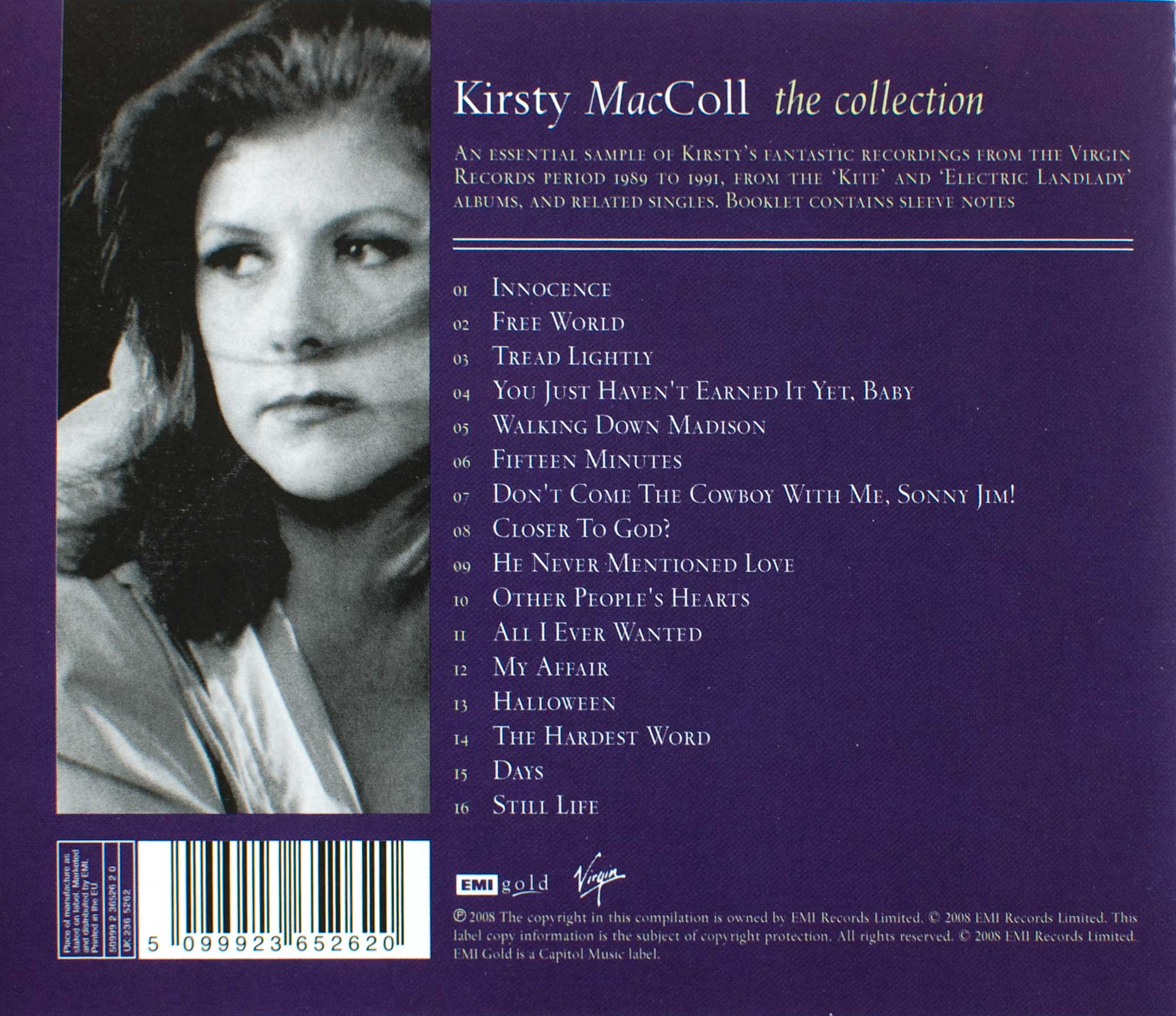 The Collection (2008 CD) back cover