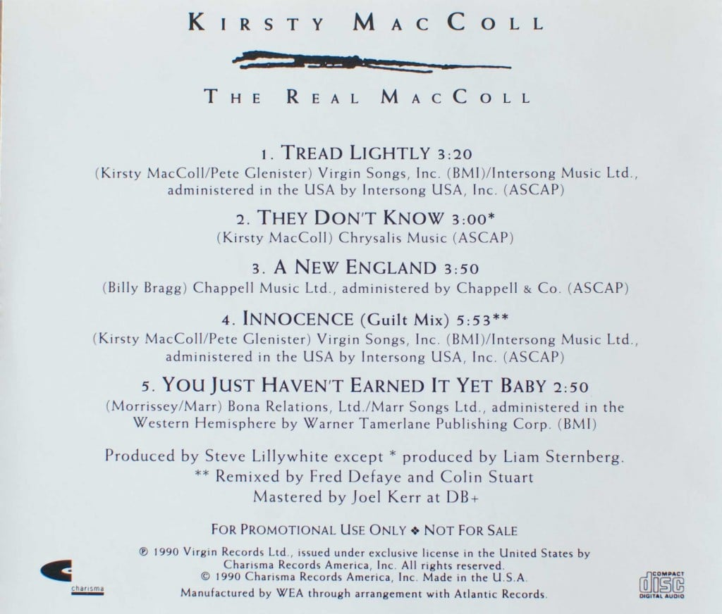 The Real MacColl (1990 CD promo) back cover