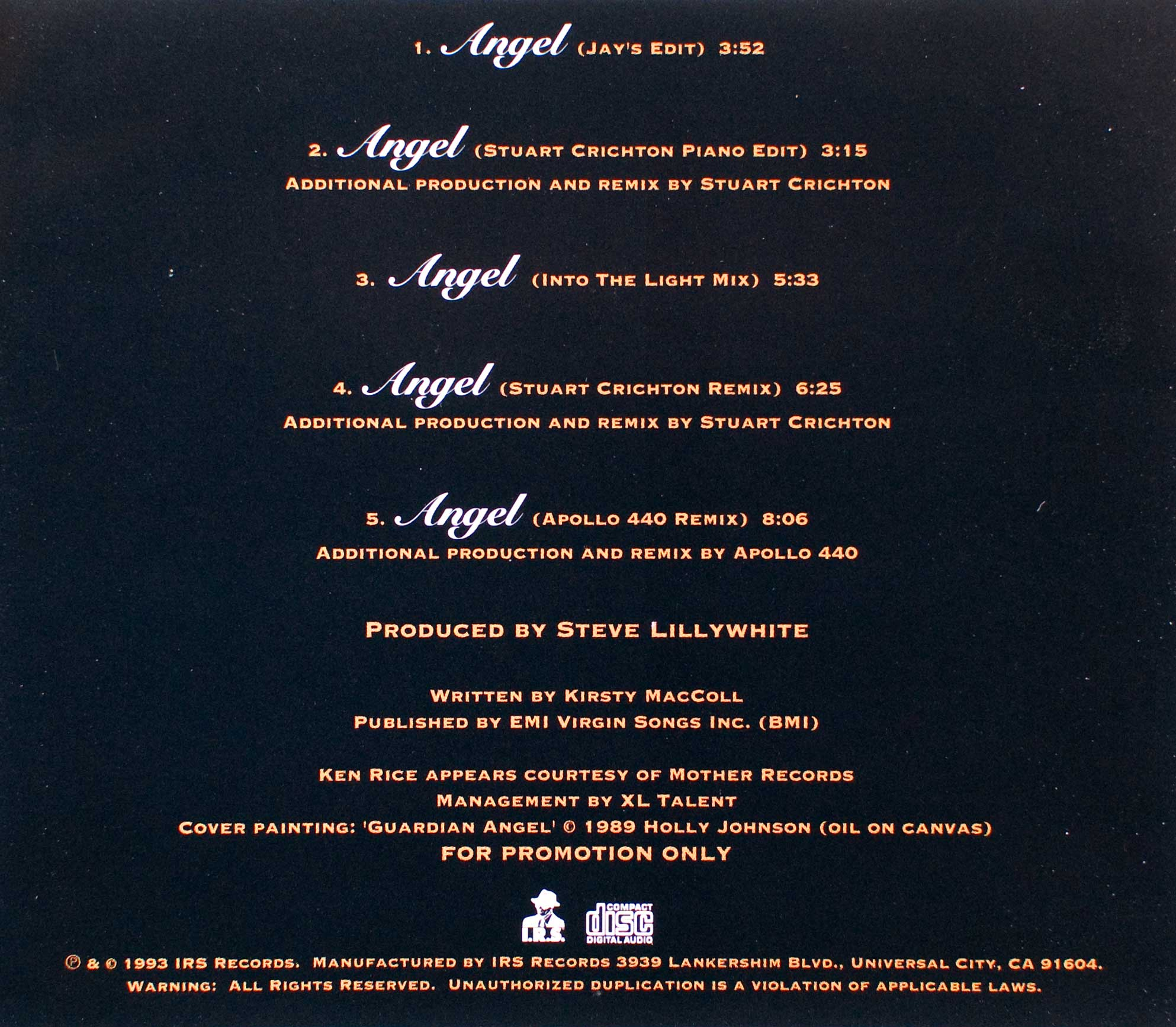 Angel (CD promo) back cover