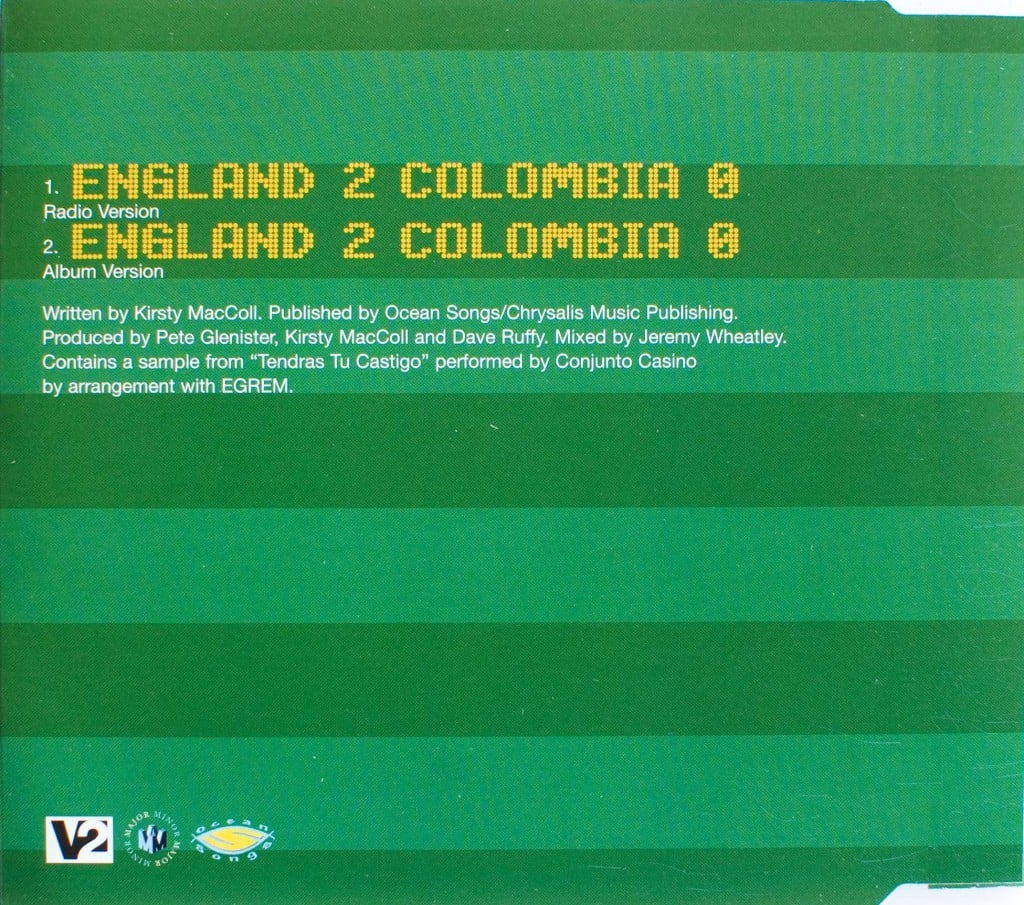 England 2 Colombia 0 (CD promo) back cover
