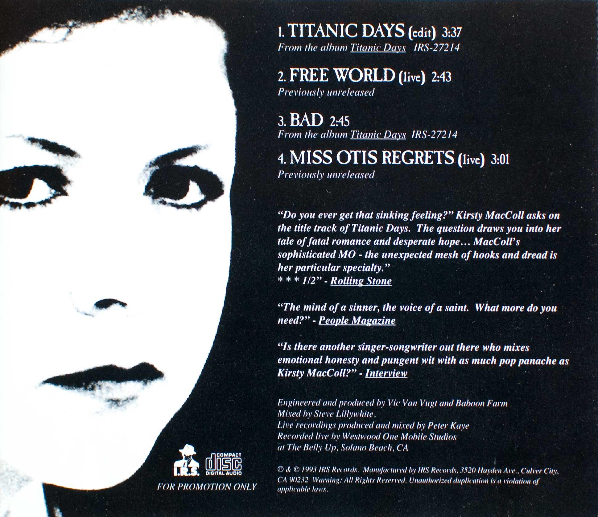 Titanic Days CD promo (US) back cover