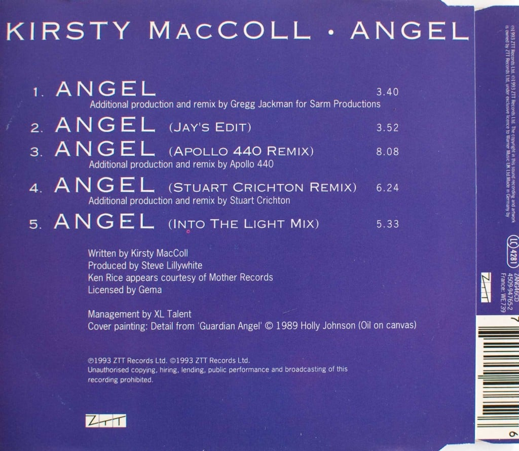 Angel (CD single) back cover