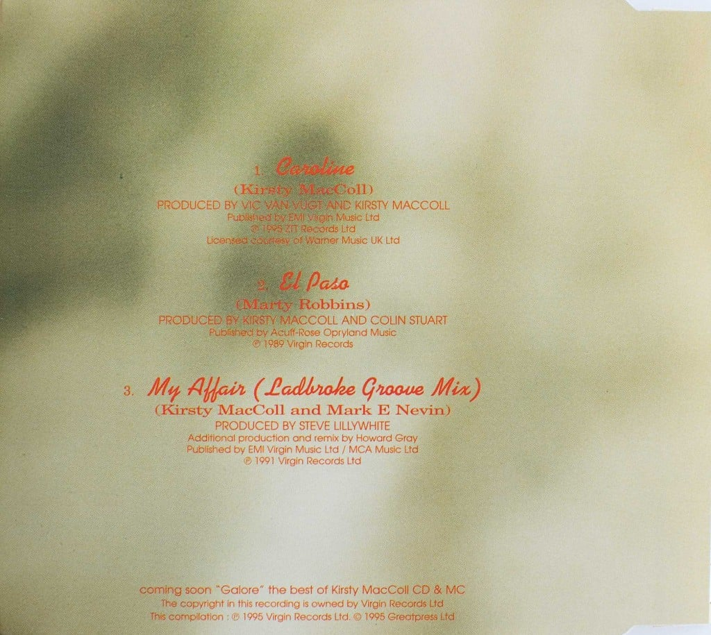 Caroline (CD single 2) back cover