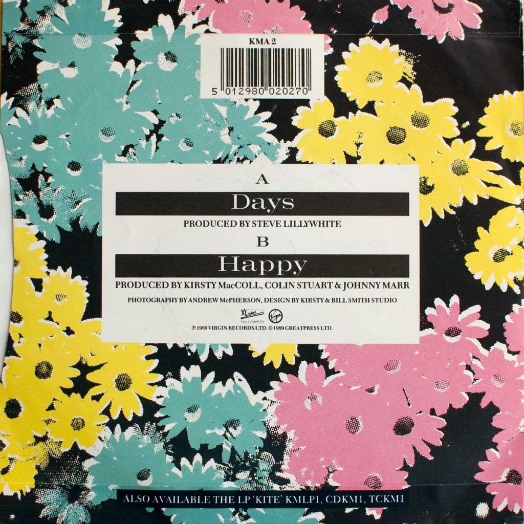 "Days (7"") back cover"