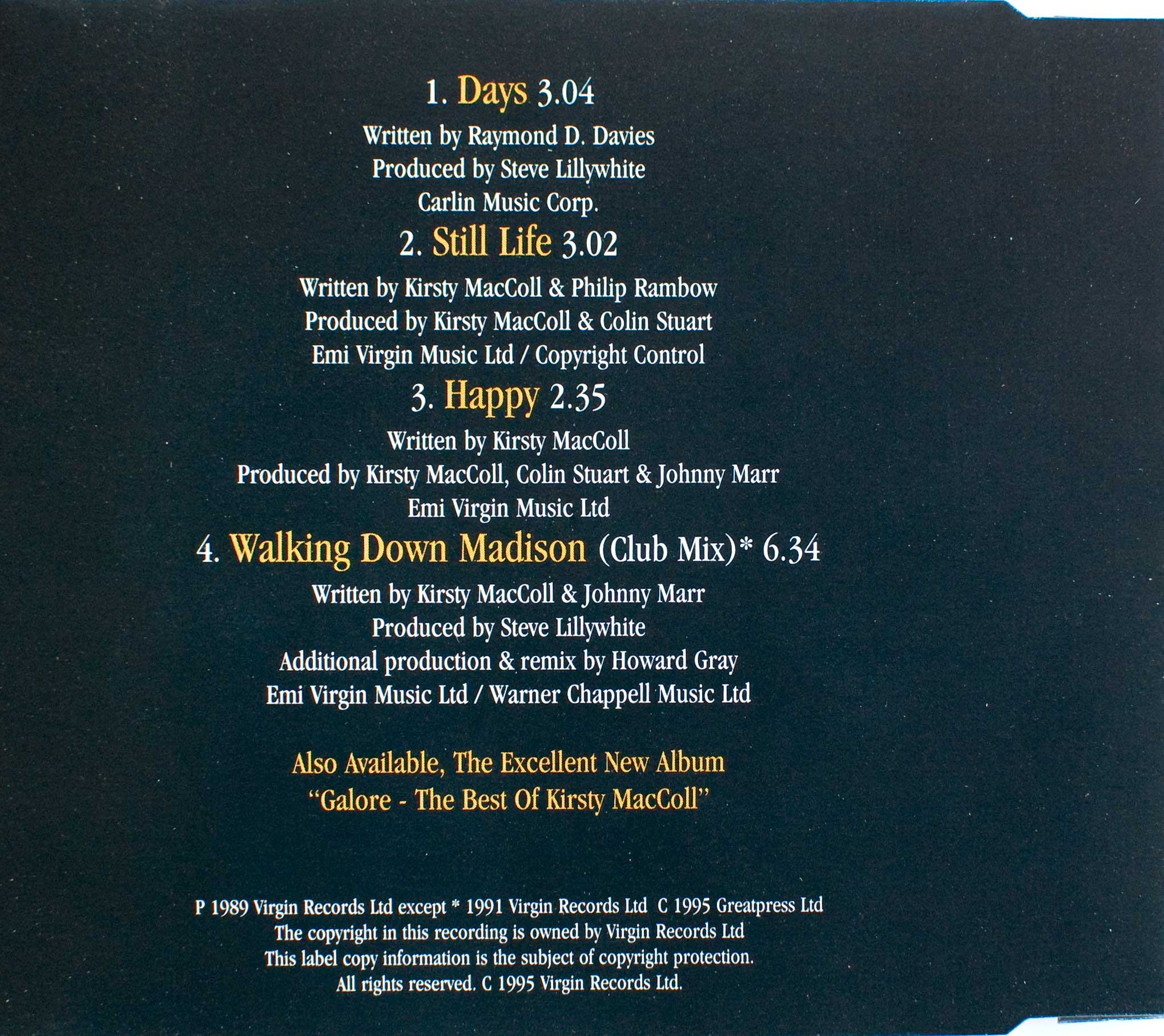 Days (CD 1995 reissue) back cover