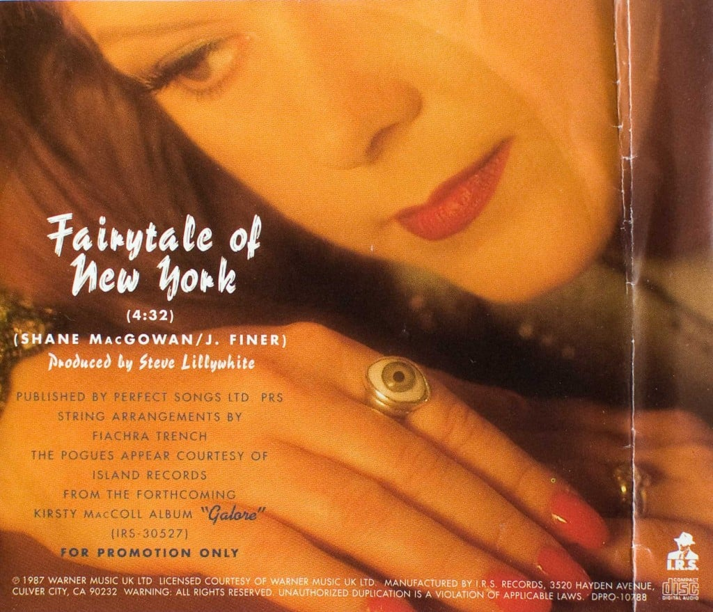 Fairytale of New York CD Promo, back cover