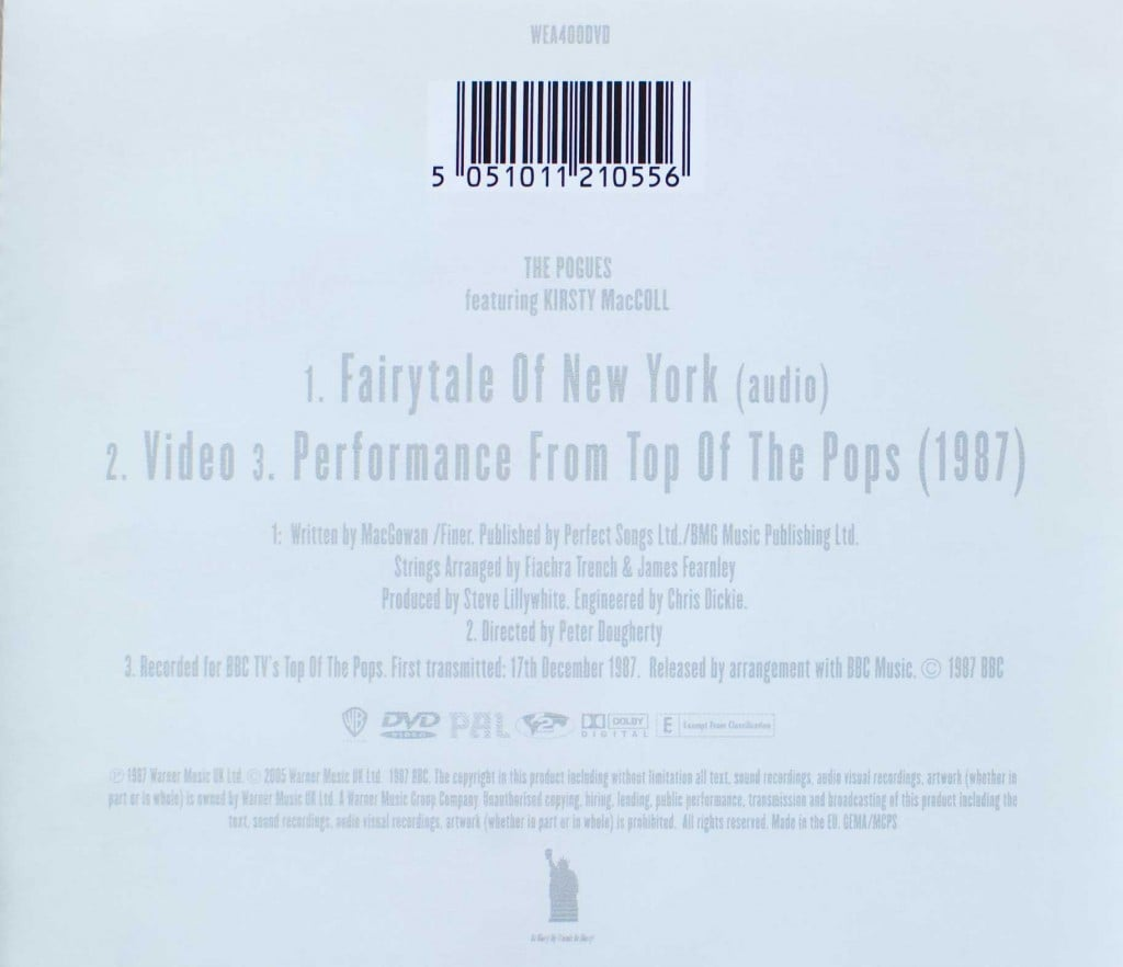 Fairytale of New York (DVD) back cover