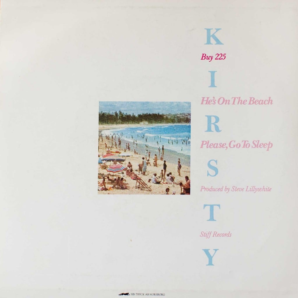"He's on the Beach (7"" single) back cover"