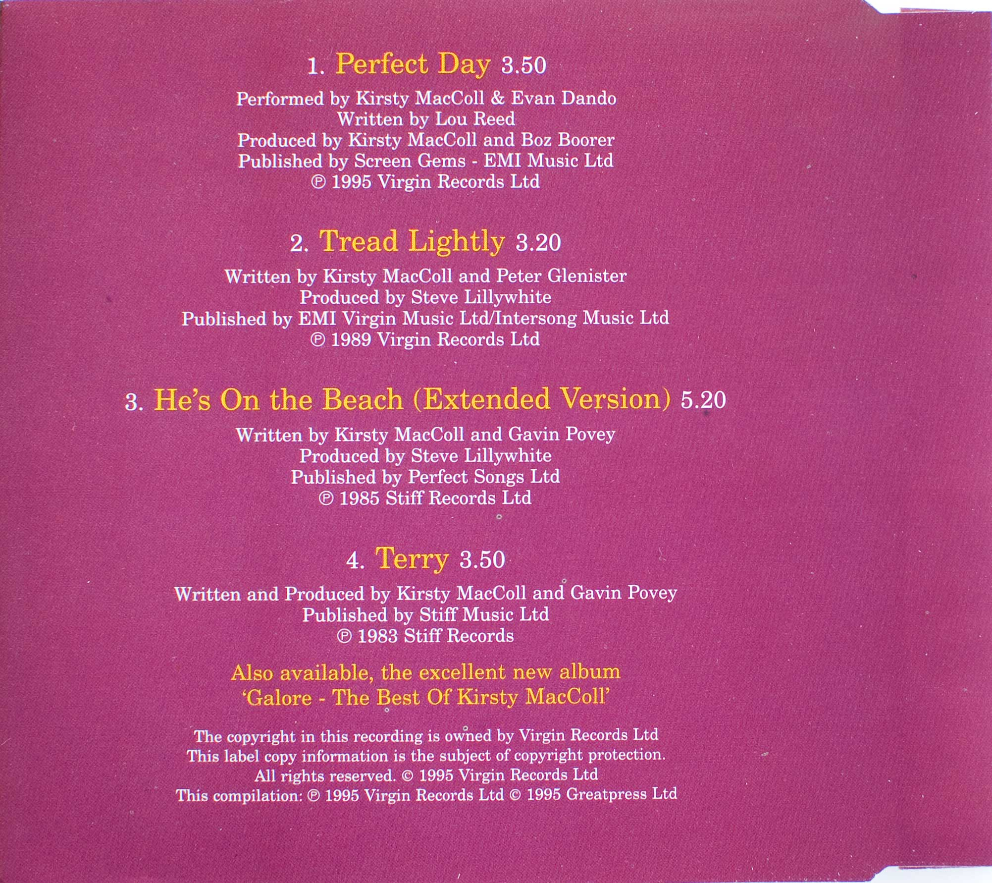 Perfect Day (CD single) back cover