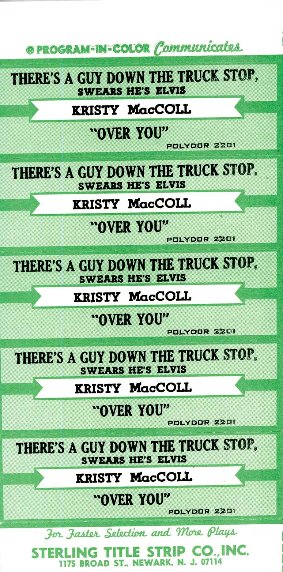 Truck Stop jukebox labels