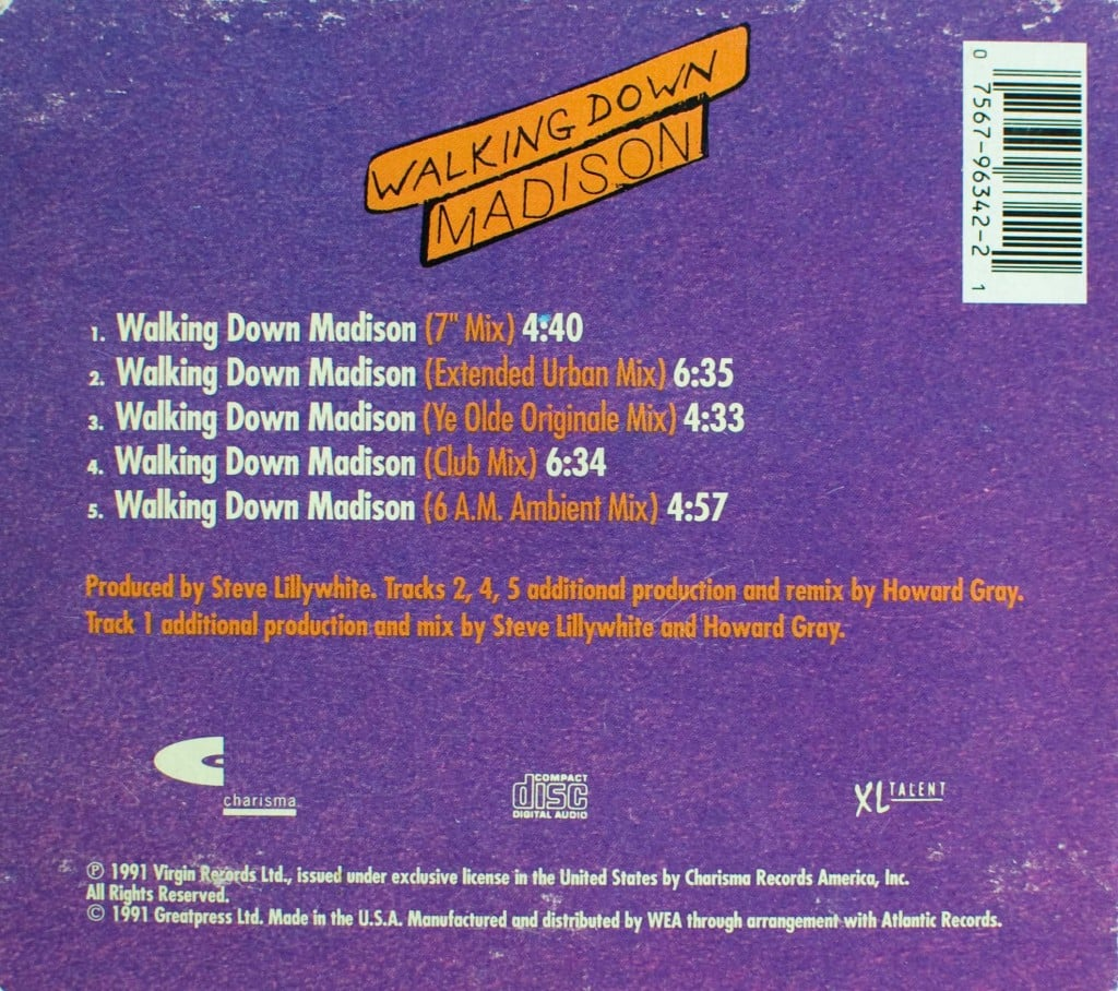 Walking Down Madison (US CD single) back cover