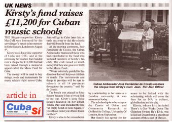 Cuba Si reports the donation