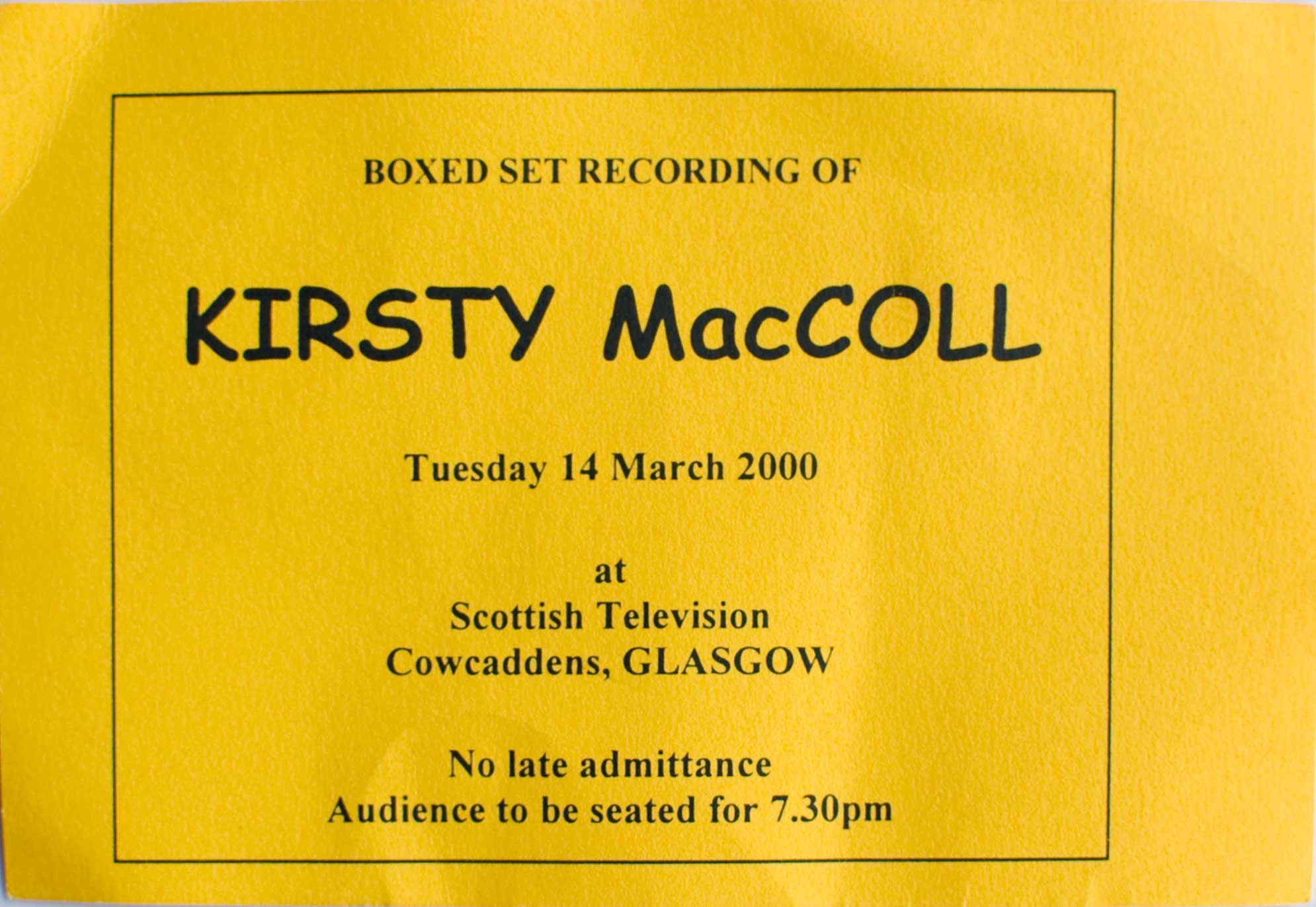 Boxed Set ticket, 14 March 2000
